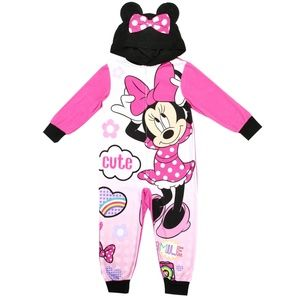 🎁NEW Minnie Mouse Girls Hooded Sleeper Very Pink!